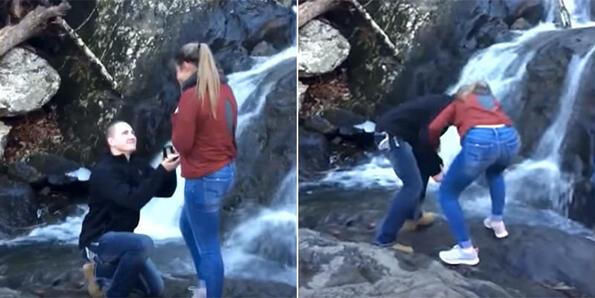 Идиот на месеца: Мъж предлага брак и изпуска халката във водопад (Видео)