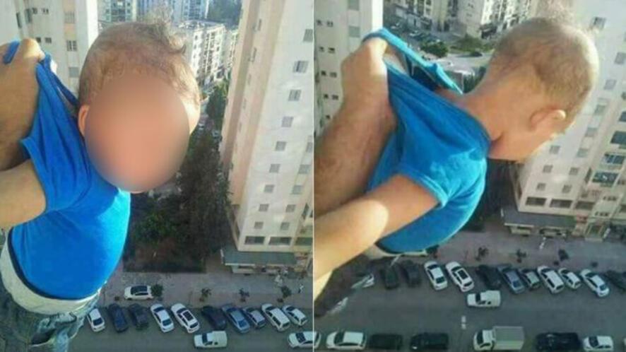 Идиот на месеца: мъж провеси дете през прозореца и публикува снимката!