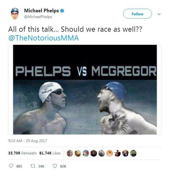 И Фелпс взе Макгрегър за майтап: предложи му състезание по плуване!