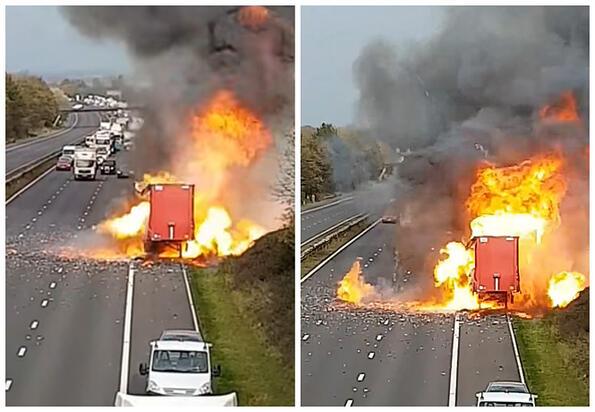 Гледай как камион пълен с дезодоранти се взривява!