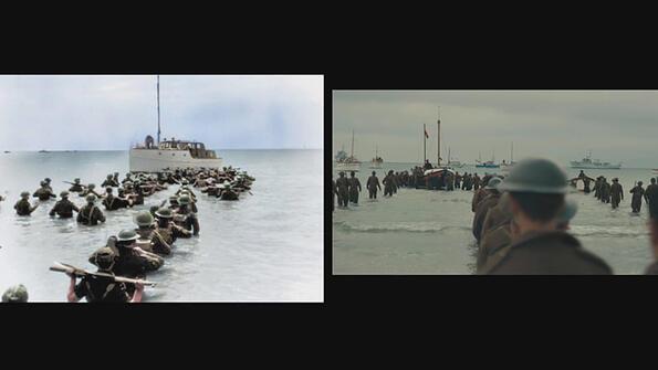 """Архивни кадри от Втората световна война сравнени с филма """"Дюнкерк"""""""