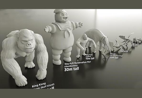 Чудовищна съпоставка: колко точно са високи и дебели всички чудовища в киното!