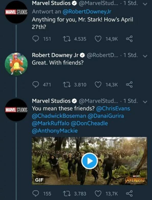 """Marvel и Робърт Дауни Джуниър обявиха по най-забавния начин кога ще излезе """"Отмъстителите: Война без край"""""""