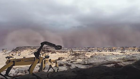 Роботите цербери на Boston Dynamics бягат от пясъчна буря!