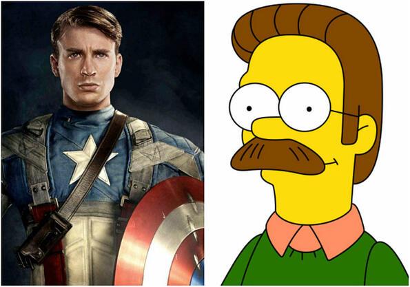 """Капитан Америка си пусна мустаци и """"интернет"""" го нарече Нед Фландърс!"""