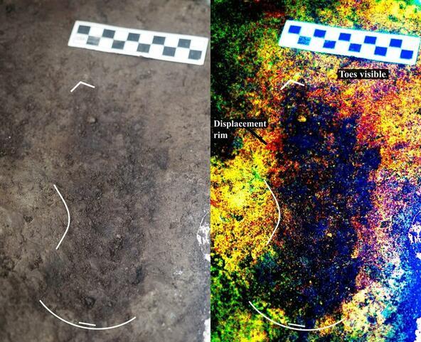 <p>Снимка на един от отпечатъците (вляво) и цифрово подобрено изображение на него (вдясно).</p>