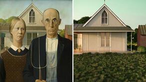"""<p>Това е работата наЮлия Пидлубняк. Юлия работи заymage works. Вдъхновена от емблематични картини, тя ги превръща в триизмерни компютърни графики, оставяйки хората извън крайния резултат, така че да се акцентира върху това, което остава незабелязано на пръв поглед, а именно: архитектура, текстура и игра със светлините.</p> <p>Тук виждаме """"American Gothic"""" наГрант Ууд.</p>"""