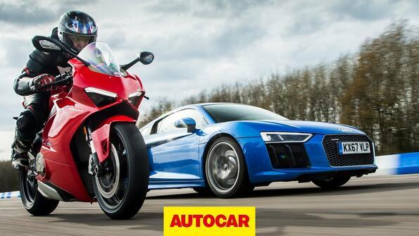 Битката на зверовете: Audi R8 V10 Vs Ducati Panigale V4