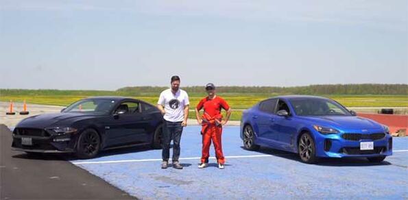Kia Stinger срещу Ford Mustang: дрифт и драг