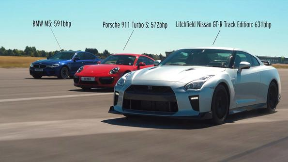Битката на титаните: Litchfield Nissan GT-R, BMW M5 и Porsche 911 Turbo S