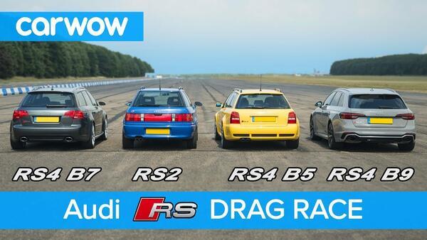 Четири поколения Audi RS4 Avant на една писта!