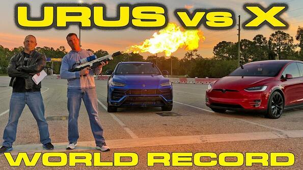 Lamborghini Urus срещу Tesla Model X P100D: титанична битка